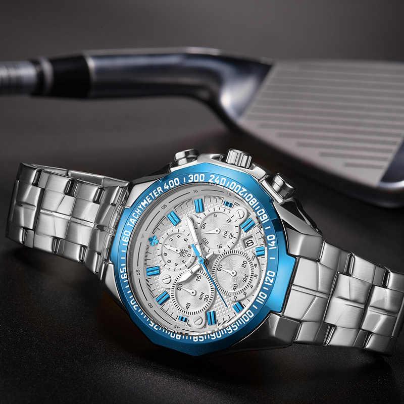 Reloj WWOOR para hombre, reloj de cuarzo deportivo de moda, relojes para hombre, reloj de lujo de acero completo, resistente al agua, reloj para hombre