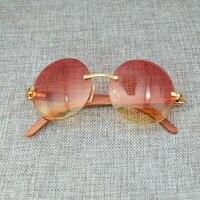 Big Round Wood Color Mix Fashion Pink Sunglasses Lady Eyewear Luxury Sun Glass Brand Designer Carter Men Sunglass