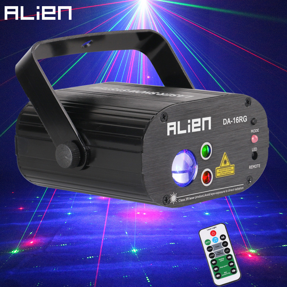 ALIEN Remote 16 Patterns Music Stage Laser Projector Lighting Effect DJ Disco Party Home Holiday Christmas Wedding Dance LightsALIEN Remote 16 Patterns Music Stage Laser Projector Lighting Effect DJ Disco Party Home Holiday Christmas Wedding Dance Lights