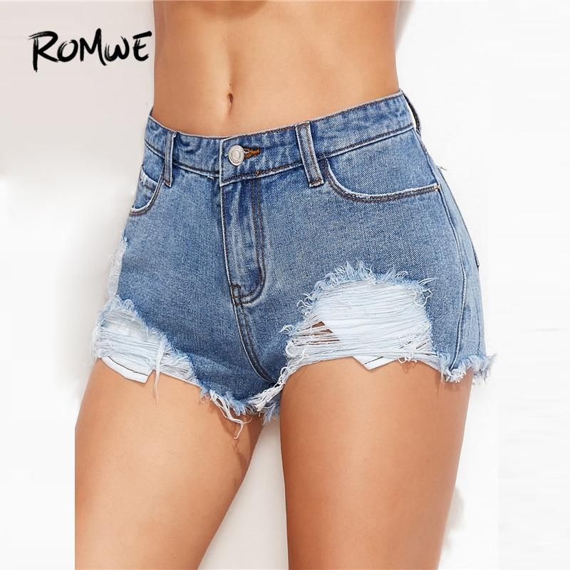 ROMWE Ripped Frayed Hem Denim Shorts Women Blue Straight Leg Pocket Skinny Shorts 2019 Mid Waist Button Zipper Fly Summer Shorts