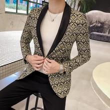 Luxury Blazer Male Hight Quality Jacquard One Button Party Nightclub Men Suit Jacket Fashion New Slim Fit Prom Blazers For Man