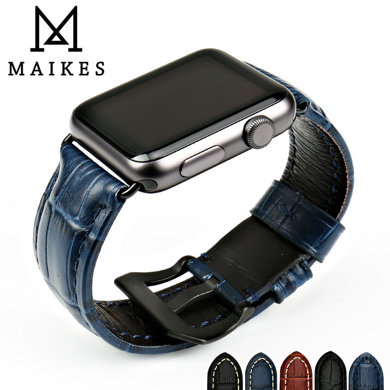 MAIKES New watch accessories watch bracelet watchbands genuine leather watch strap for Apple Watch Band 42mm 38mm iwatch maikes 18mm 20mm 22mm watch belt accessories watchbands black genuine leather band watch strap watches bracelet for longines
