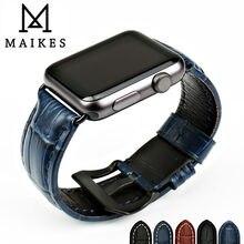 MAIKES bracelet de montre, en cuir véritable, pour Apple watch 44mm 40mm 42mm 38mm série 4 3 2 iwatch