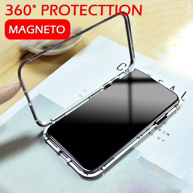 SHUOHU 2018 Magnetic Flip Phone Case for iPhone X 8 Plus 7 Plus Clear Tempered Glass Built-in Magnet Case for iPhone 7 6 Cover