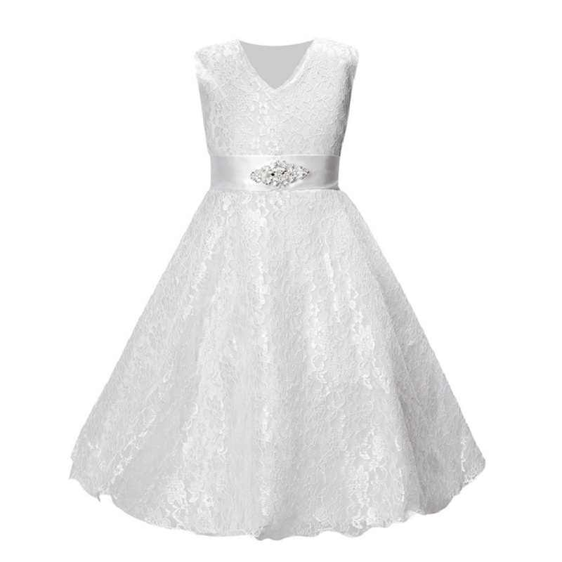 d8630dd063 Lace Floral Girls Dress Children Evening Ball Gown Girl Wedding Clothes  Sleeveless Party Hollow Kid Formal Attire Vestido Outfit