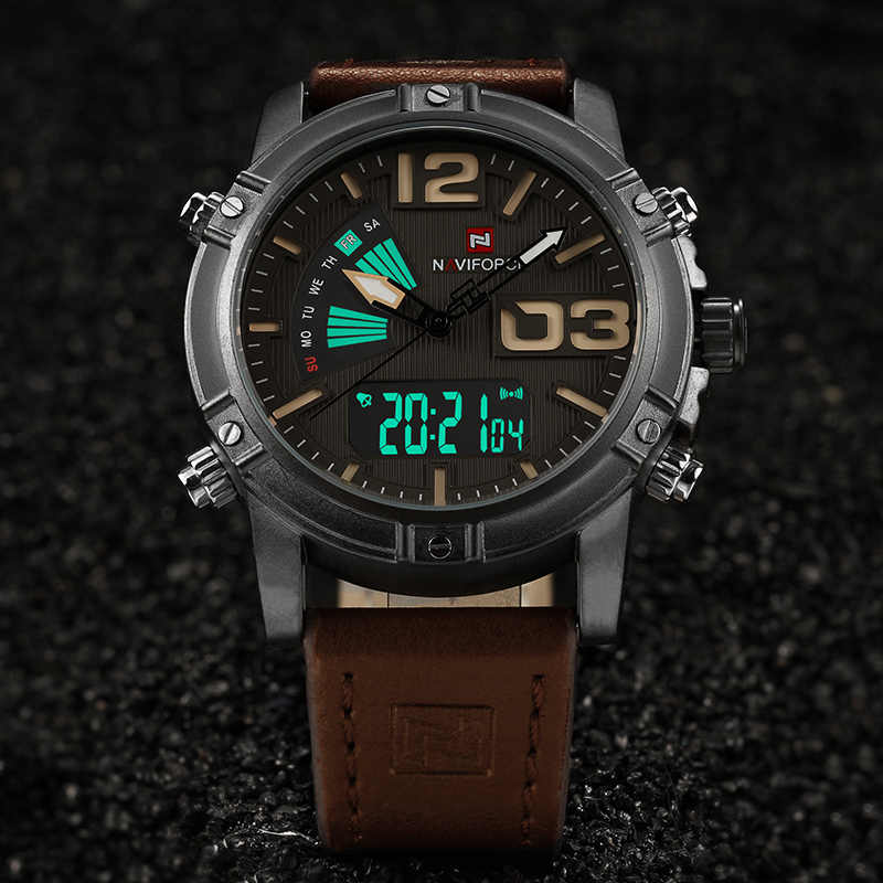 Naviforce moda masculina relógios do esporte masculino quartzo analógico data relógio homem de couro militar à prova dwaterproof água relógio relogio masculino 2019