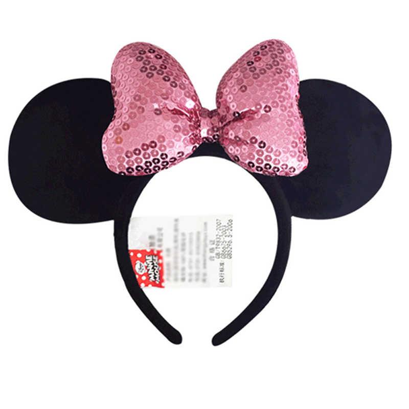 Disney оригинальный оголовье Микки и Минни Маус бабочка узел обруч для волос Головные уборы головной убор плюшевые игрушки аксессуары для детей девочек