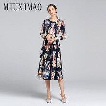 High Quality 2019 Spring  Newest Arrival Vintage O-Neck Full Sleeve Goddess Print A-Line Mid-Calf Elegant Dress vestido