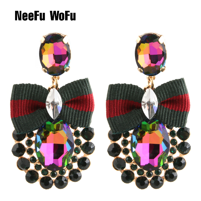 NeeFu WoFu Drop Rhinestone Tie Big Earring Dangle Zinc alloy Large Long Brinco Brand Earrings Ear Accessories Oorbellen