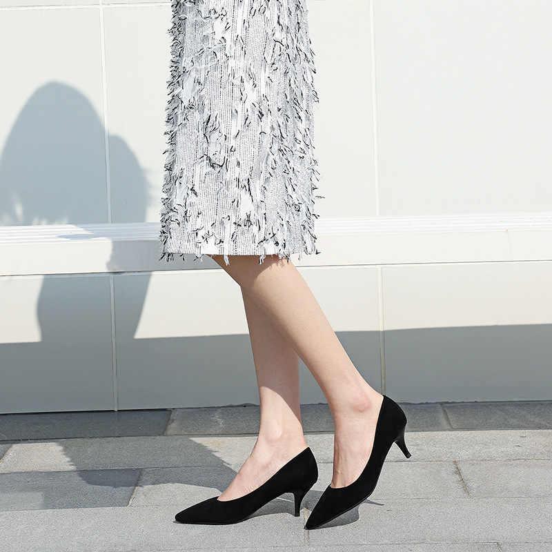 女性 5 センチメートル薄型ハイヒールの靴女性 2019 フロックポインテッド靴女性のエレガントなサンダルパンプス結婚式の靴プラスサイズ 40