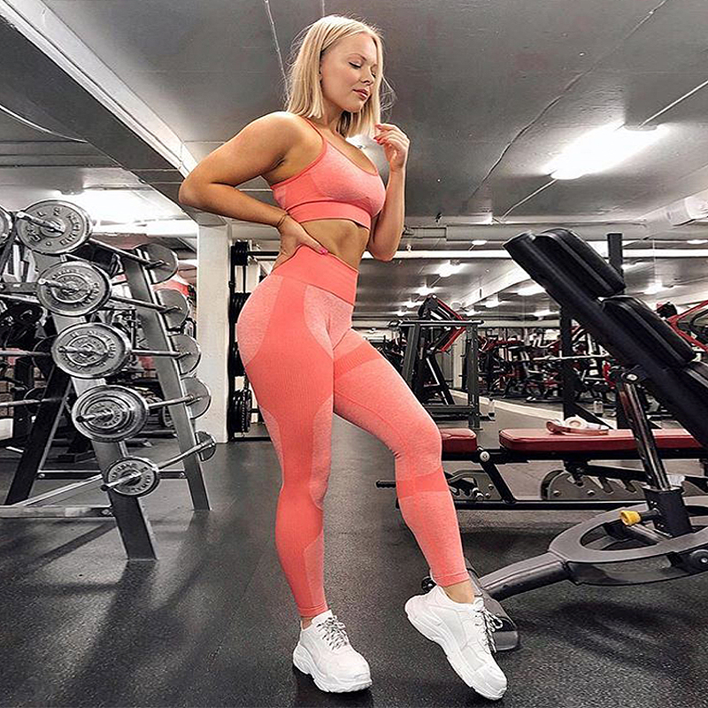 Seamless Gym Set Outfit Women Push Up Sports Bras Top Padded Leggings For Fitness Running Active Wear 2 Piece Yoga Sets L