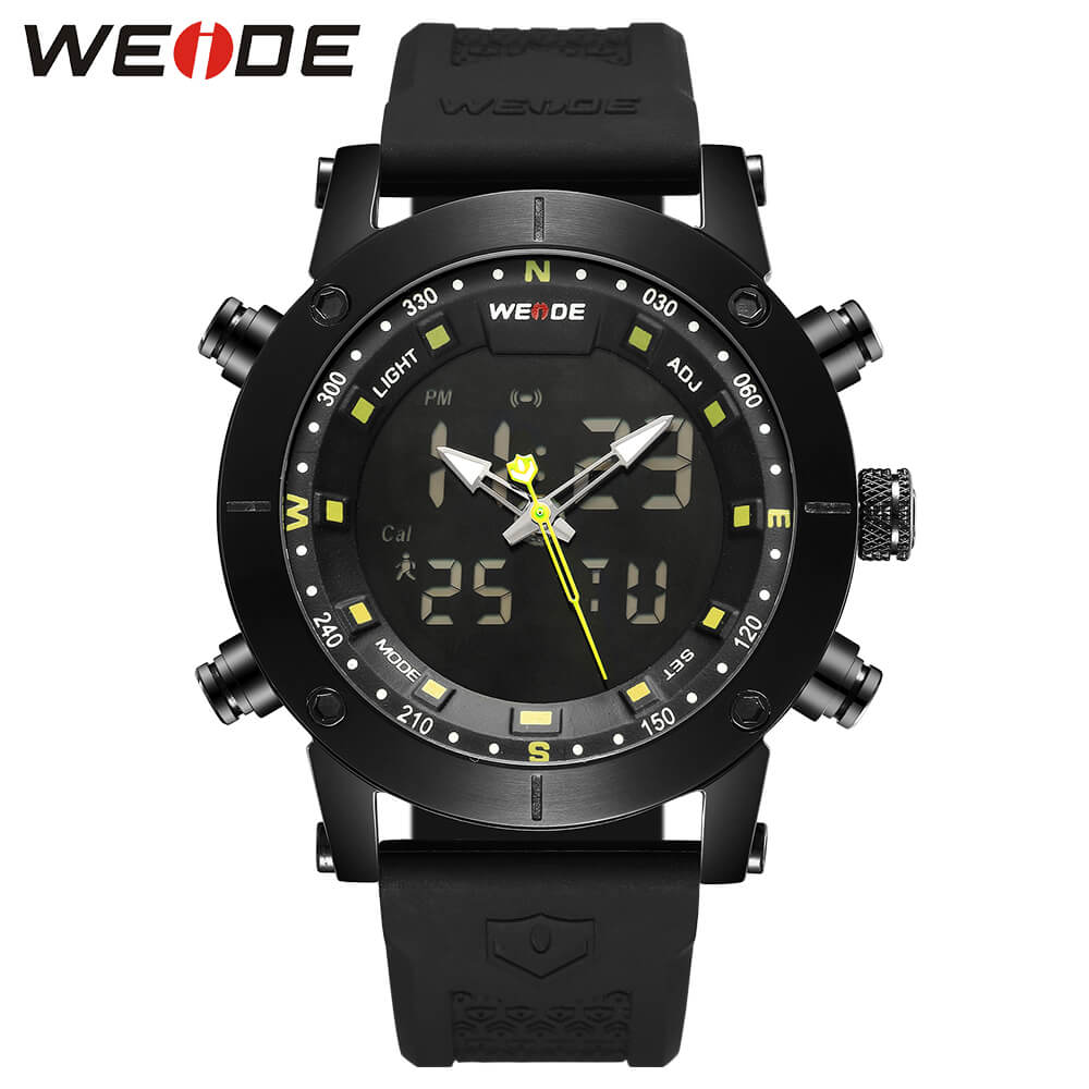 купить WEIDE luxury Genuine LCD digital Sport fitness watch alarm clock men Water Resistant Analog Quartz watches amazfit bip gift box по цене 3010.93 рублей