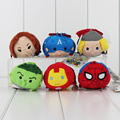 "2016 3.5"" Mini Tsum Tsum Marvel The Avengers Plush Toys Spider man Thor For Bouquets Brinquedos Mini Toys With Keychain"