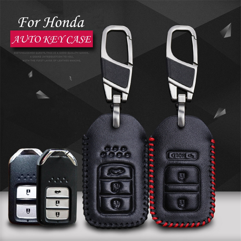 A&P--cow leather car key pack cover / key case holder shell keychain accessories for Honda CRV XRV Accord Fit Accord