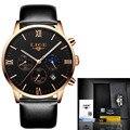 Mens Relojes de Primeras Marcas de Lujo LIGE Men Fashion Business Cuarzo Reloj Hombre Impermeable Reloj Deportivo Reloj de pulsera de Cuero + origen caja
