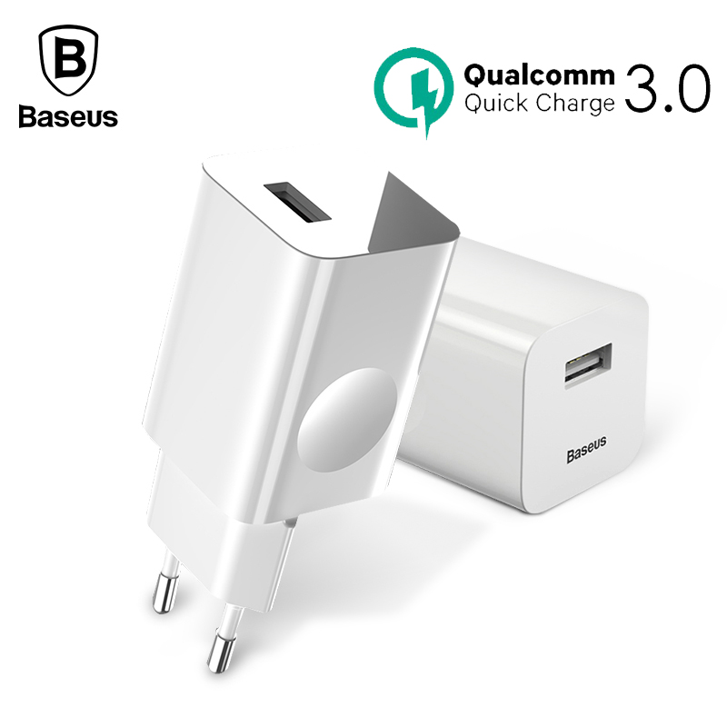 Baseus 24W Quick Charge 3.0 USB Charger For Samsung Xiaomi Huawei Fast QC3.0 Mobile Phone Charger For iPhone X 8 EU US Plug
