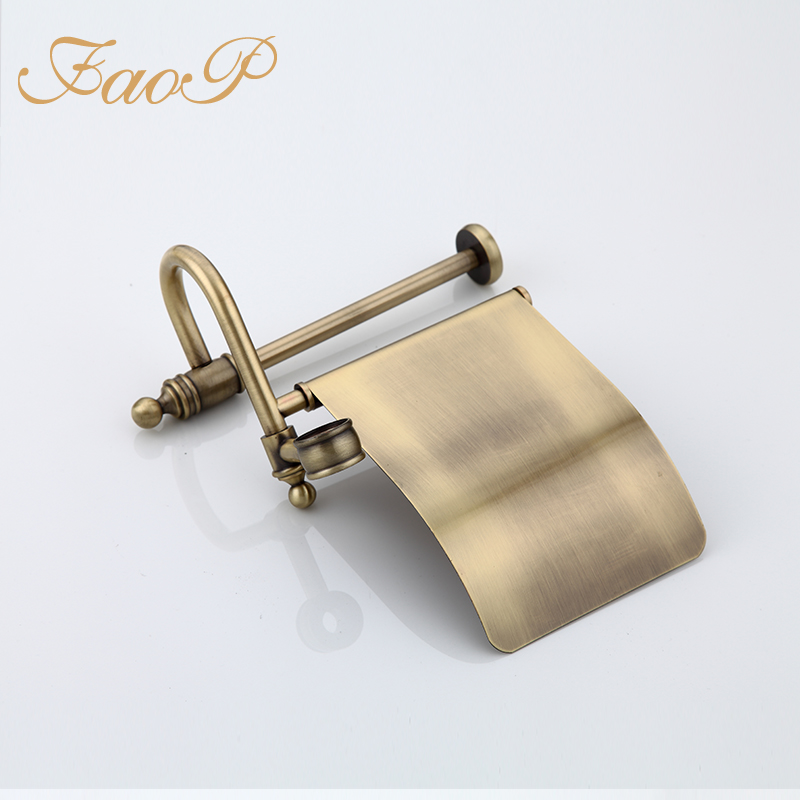 FAOP bathroom Toilet Brush Holders Bath Hardware Sets Gold Antique brass Roll Paper Hanger Paper Holders Bath towel back