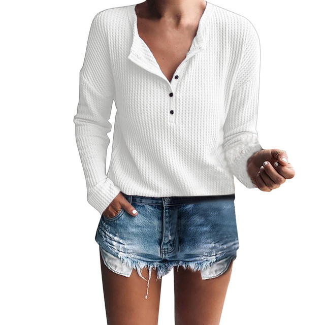 4a3b7bdab7f4 Women Cotton Henley Shirt Casual Long Sleeve Rib Knit Blouse Button Tunic  Tops White Winter Autumn Elegant Female Clothing#15