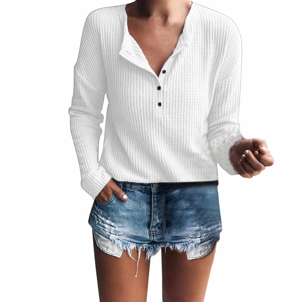 1520e42f Women Cotton Henley Shirt Casual Long Sleeve Rib Knit Blouse Button Tunic  Tops White Winter Autumn