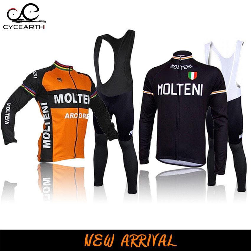 Molte Man Cycling Jersey 2016 Bike Long Sleeve Sportswear Cycling Clothing bib pants <font><b>set</b></font> Clothing ropa ciclismo #887