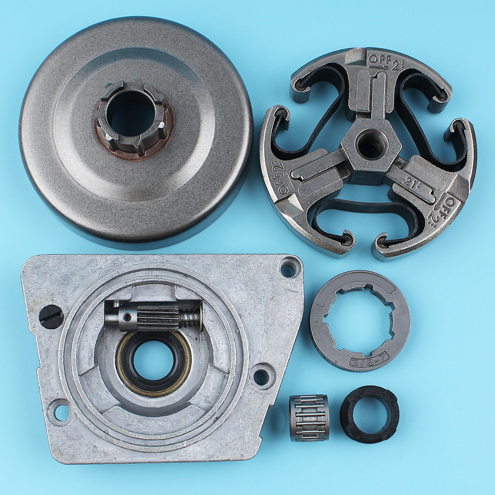 Clutch Drum 3/8-7T Rim Sprocket Oil Pump Worm Gear Kit For Husqvarna 268 272 266 61 66 Chainsaw Needle Bearing oil pump with 2pcs worm gear wheel fits husqvarna 61 266 268 162 272 replace 501512501 501513801