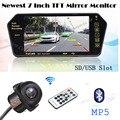 2017 Pantalla TFT Monitor del Espejo de 7 pulgadas Manos Libres Inalámbrico para Coche Bluetooth MP5 CCD de visión Trasera cámara de Marcha Atrás Estacionamiento de Reserva