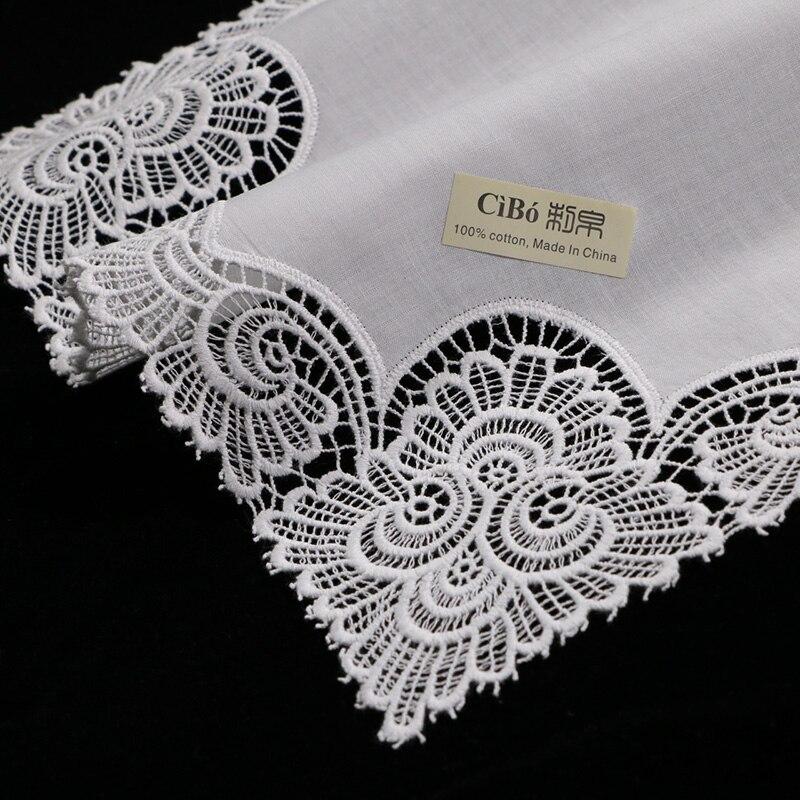 A003 White premium cotton lace handkerchiefs 12 piece pack blank crochet hankies for women ladies wedding