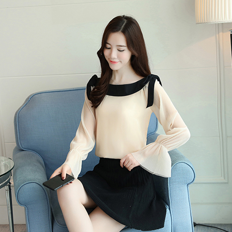 fashion slash neck white blouse long sleeve women shirt chiffon blouse shirt womens tops and blouses blusas femininas 1596 50 3