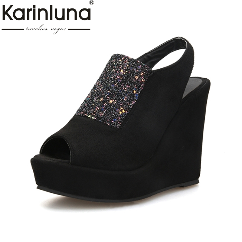 d128191f4017 KARINLUNA hot sale big size 33 43 platform peep toe rome style party shoes  popular wedges high heels women sandals-in High Heels from Shoes on ...