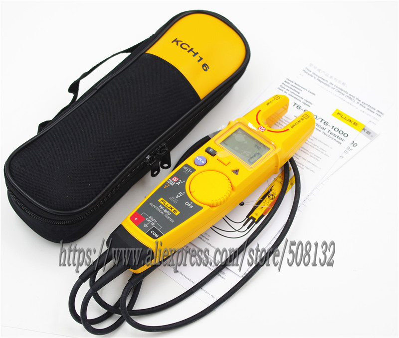 FLUKE T6 600 with Soft Case KCH16 Clamp Continuity Current Electrical Tester-in Clamp Meters from Tools    1