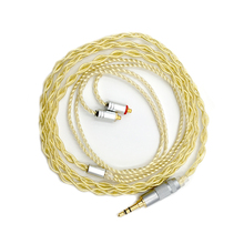 MMCX/0.78mm 2Pin Conector 3.5mm 2.5mm Equilibrada Atualizado Cabo do Fone de ouvido Extremamente Macio 7N OCC Prata Pura + Banhado A ouro Para IEMs