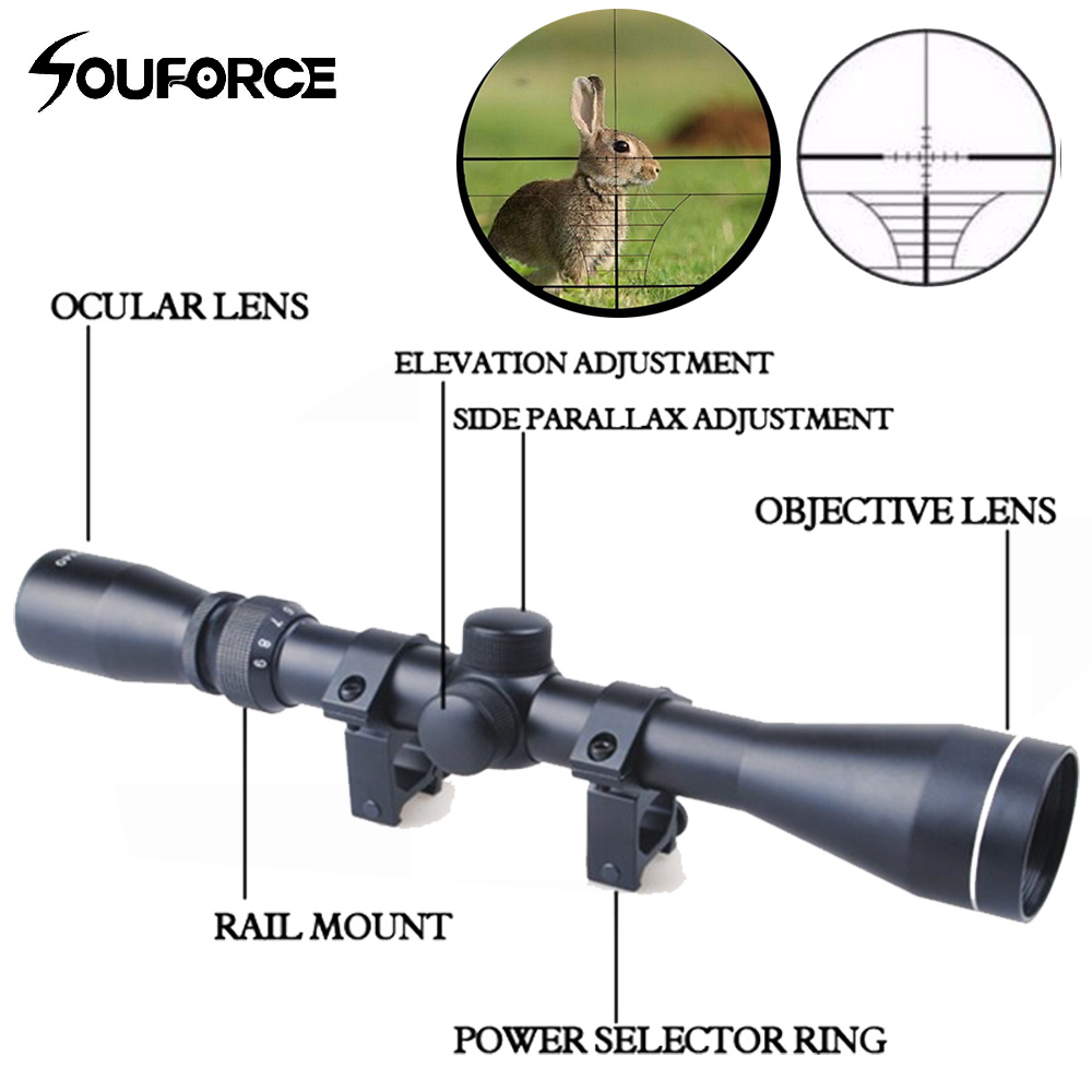 New 3 9x40 Hunting Scope Riflescope Mil Dot Air Riflescope Gun riflescope/Air Optics Sniper Hunting Scope With 20mm Rail Mount