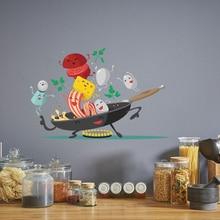 Cartoon Happy pan kitchen Wall Sticker for Kitchen fridge cupboard decoration art Decals Removable home stickers Mural wallpaper
