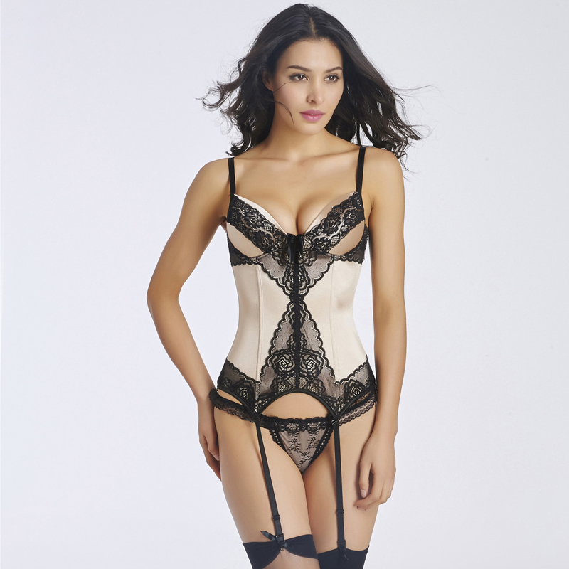 Sexy Corset Lingerie Lace Embroidery Spaghetti Straps Waist Shaper Corset Sexy Overbust Shaper Slimming Lingerie S-2XL W46233
