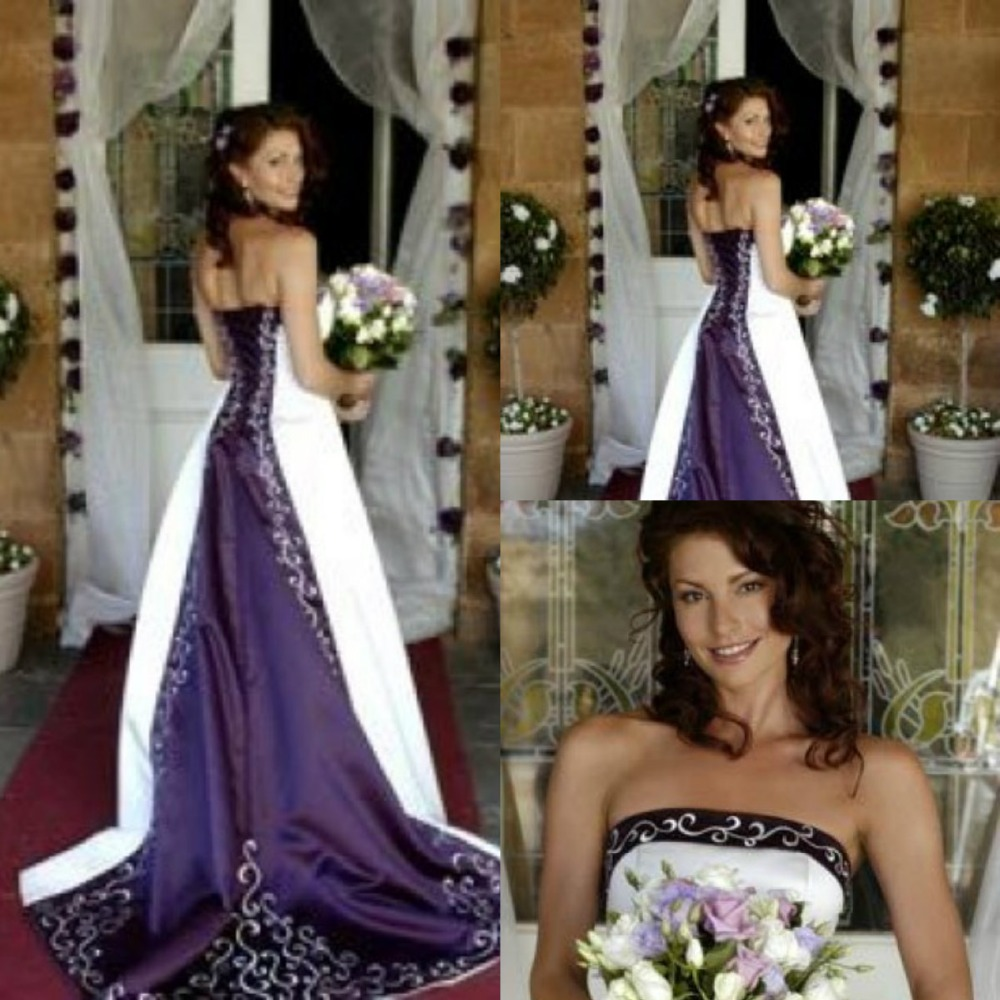 hot white and purple wedding dresses 2016 pao embroidery vestido de custom made a line strapless lace up back bridal gowns in wedding dresses from weddings