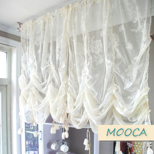 Ivory White Ruffled Lace Curtain Pull Up Decoration For Window Vintage