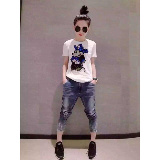 2016 New Fashion Summer Cotton Women T Shirts Cartoon Sequins Short Sleeve T Shirts Women Casual Tops Black And White  XXL B016