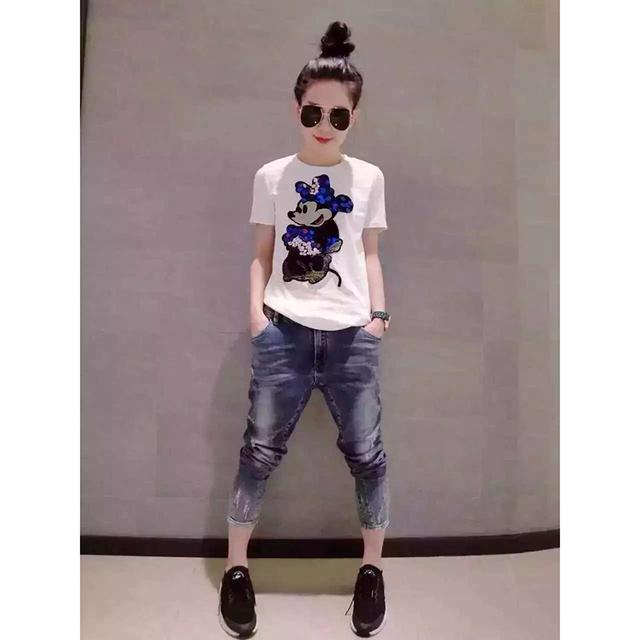 2016 Nova Moda de Verão de Algodão Mulheres T Dos Desenhos Animados Lantejoulas Curto T Camisas de manga Mulheres Casual Tops Preto E Branco XXL B016