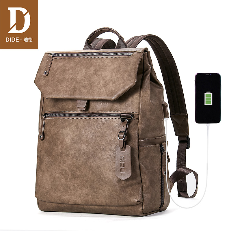 DIDE Dropshiping Men Computer Schoolbags Waterproof Backpack Male USB charging Travel Backpack 15 inch Laptop Backpack