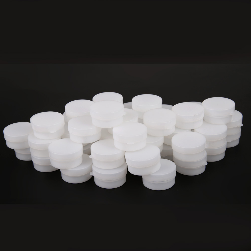 50pcs 5g/ml Empty Cosmetic Jar Pots Makeup Tool Face Skin Cream Container Refillable Bottles Eyeshadow Face Cream Container Box 50pcs 5g cosmetic empty jar pot eyeshadow makeup face cream container plastic bottle for creams skin care nail art beauty tool