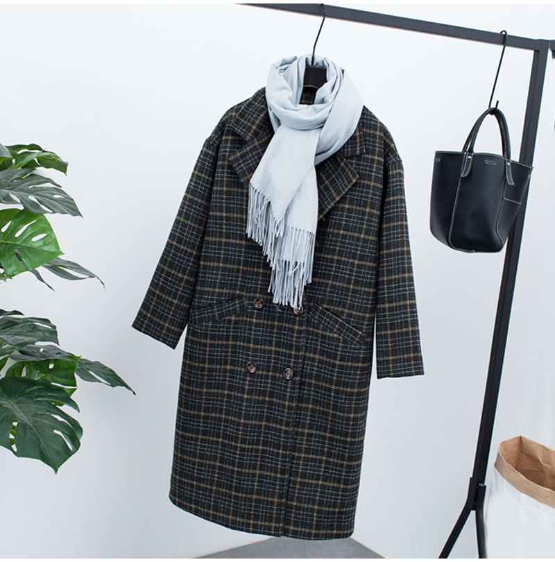 Winter Check Velvet Coat Female Notched Warm checkered Woolen Women's Coats Fleece Office Lady 19 Vintage Long Overcoat Woman 3