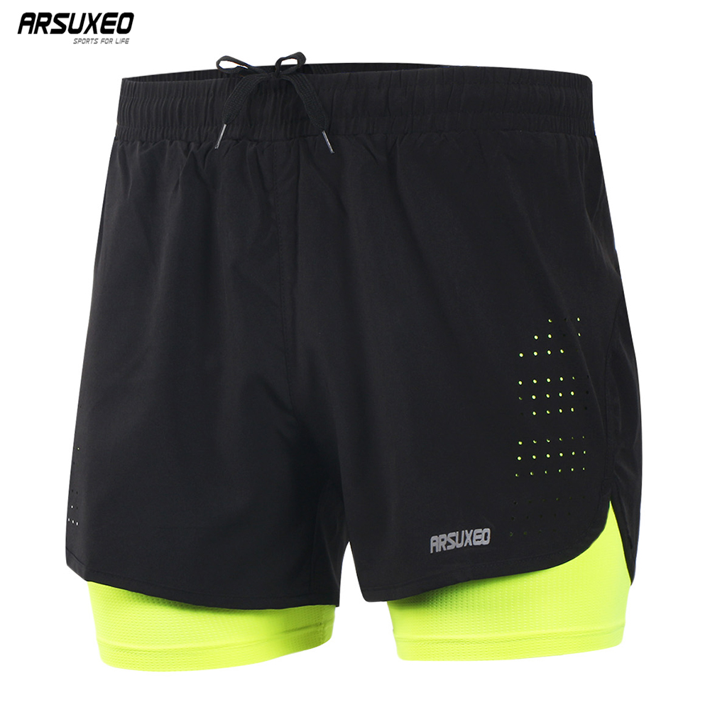 ARSUXEO Men's Running Shorts Outdoor Sports Training Exercise Jogging Gym Fitness 2 In 1 Shorts With Longer Liner Quick Dry B179