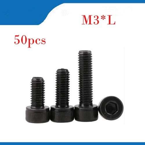 50Pc M3 12.9 Grade Steel Allen Hex Socket Cap Head Black Screw Bolt Furniture Fastener M3*4mm/5mm/6mm/14mm/16mm/25mm/30mm m3 titanium screw kit 9 size 90pcs m3 hex socket flat head screw din7991 titanium bolt super light screws 5mm 20mm
