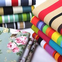 50x145cm Horizontal Striped Canvas Fabric For Curtains Blinds Green Red Black White Floral Cloth Sofa Covers