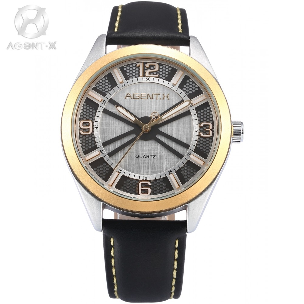 AGENTX Brand Golden Case Mens Watch 3D Round Slim Analog Black Leather Strap Band Quartz Dress Wrist Watches + Gift Box / AGX145 la vitesse fatale agentx original casual business analog steel band silver case japan movement quartz mens wrist watch agx094