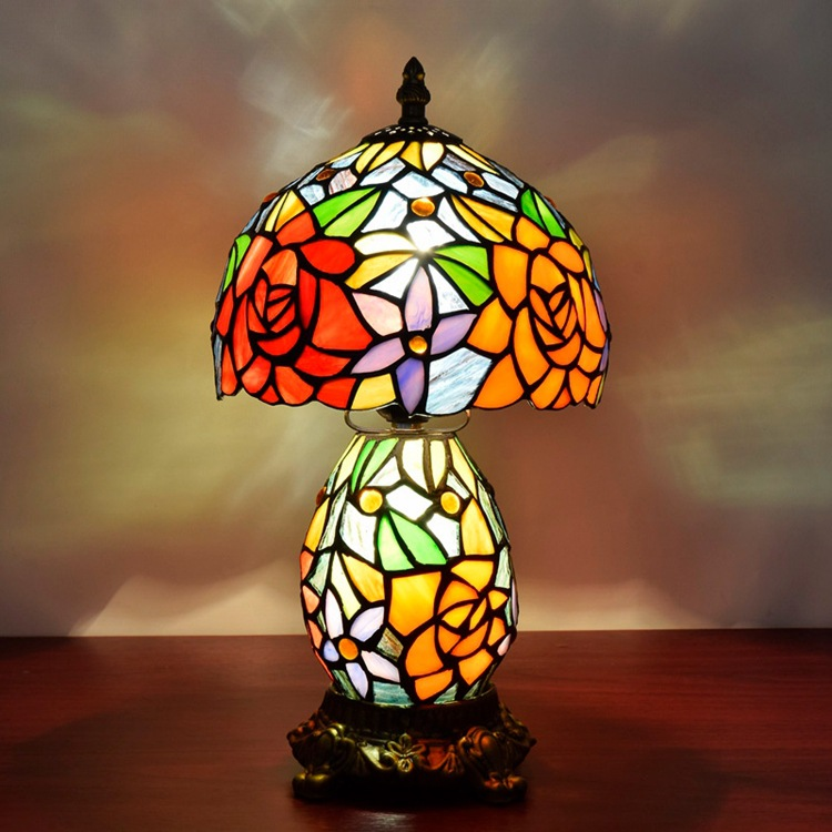 American Pastoral rose gift lamp European Tiffany wedding photography bedroom bedside lamp 8 inches
