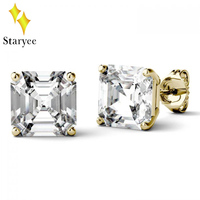 Genuine 18K 750 Yellow Gold Screw Back DEF Color 2.21ctw Test Positive Asscher Cut Moissanite Diamond Earrings For Women Jewelry