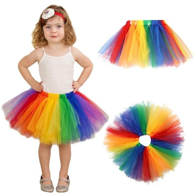 0cd1c3cf0 Summer Fluffy 3 Layer Girls Rainbow Tutu Skirts Baby Kids Tulle Tutu Skirt  Children Baby Tutus