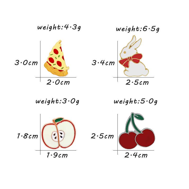 Cute Cartoon Spille Spilli Pizza Mela Ciliegia Coniglio Icona Dello Smalto Spilli Fibbia Distintivo Giubbotti Camicia Risvolto Spille Corpetto Gioielli Regali