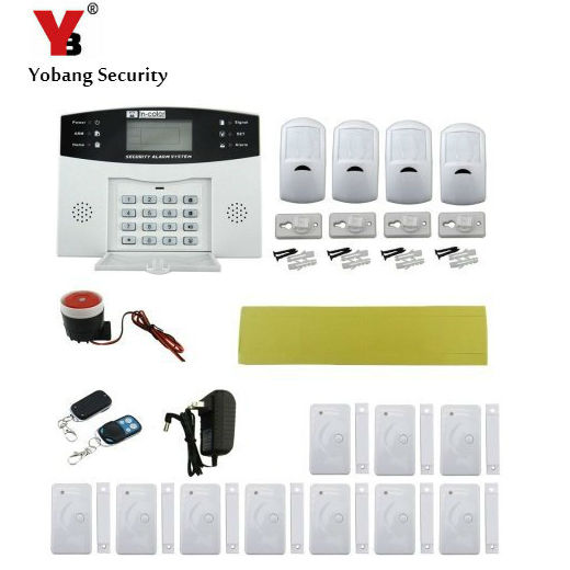 YobangSecurity 433MHz Wireless Wired GSM Home Burglar Alarm System Spanish Italian Cezch Voice PIR Detector Metal Remote Control